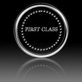 picture of first class  - first class silver symbol with some reflection on it - JPG