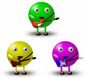 picture of stratocaster  - 3 Cute cartoon characters holding guitars - JPG