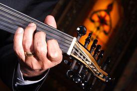 foto of musical instrument string  - turkish music instrument taken in a restaurant - JPG