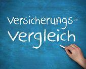 Hand schreiben deutschen Wörtern Versicherungs und Vergleich auf einem blauen Brett