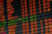 image of time flies  - Departures and arrivals electronic orange led schedule in airport - JPG
