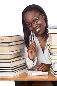 Educación de personas adultas Afro American Woman libro estudiar