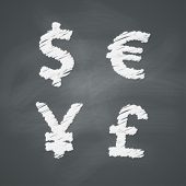 picture of yen  - Money signs on chalkboard - JPG