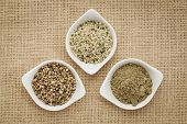 hemp products: seeds, hearts (shelled seeds) and protein powder in small ceramic bowls on burlap can