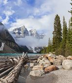 Moraine Lake, glacially-fed lake, Banff National Park, Alberta, Canada, in the Valley of the Ten Pea