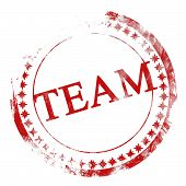 stock photo of team building  - red team stamp on a white background - JPG
