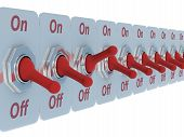 Row Red Switch On A White Background. 3D Image