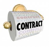 A toliet paper roll with the word Contract to illustrate an agreement or pact that has been declared