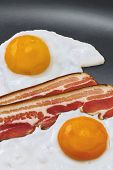 Sunny Side Up Eggs And Bacon Slices In Frying Pan