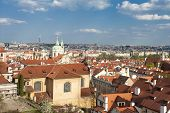 View at the old and beautiful part of Prague - Mala Strana (the Little Quarter) from the Prague cast