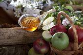 honey with fresh organic apples