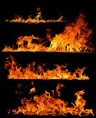 stock photo of flames  - High resolution fire collection isolated on black background - JPG