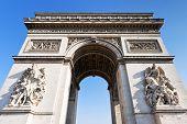 image of charles de gaulle  - arc de triomphe de l etoile in Paris in sunny day - JPG