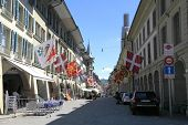 Old Street With Flags In Bern, Switzerland