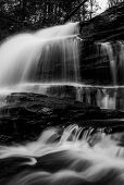 Vertical Black And White Image Of Onondaga Falls, In Glen Leigh At Ricketts Glen State Park, Pennsyl