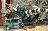 Lobster traps and lobster buoys at the  dock in Bar Harbor, Maine