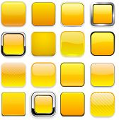 Set of blank yellow square buttons for website or app. Vector eps10.