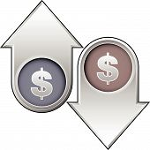 Dollar Currency Icon On Up And Down Arrow Buttons