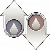 Liquid Drop Icon On Up And Down Buttons