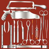 stock photo of spreader  - Full set of surgeon - JPG