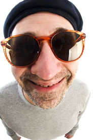 foto of honkers  - middle age senior man wearing artist french hippie beret hat macro close up distorted large nose face - JPG