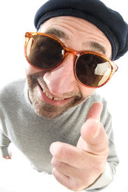 pic of honkers  - middle age senior man happy smiling pointing finger at camera wearing artist french hippie beret hat macro close up distorted large nose face - JPG