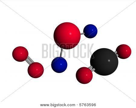o2 molecule  image of:1) O2 - oxygen