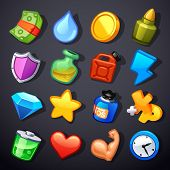 stock photo of precious stones  - Game resources vector icons on gray background - JPG