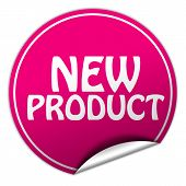 New Product Round Pink Sticker On White Background