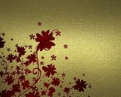 gold Background with abstract red plant pattern
