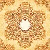 stock photo of henna tattoo  - Ornate vintage circle vector seamless pattern in mehndi style - JPG