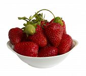Strawberries With One Green In The Vase