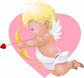 image of cupid  - the beautiful cupid who aims from onions a love arrow - JPG