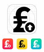 Pound sterling exchange rate up icon.