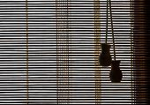 picture of louvers  - closeup of open wooden blinds with two handles - JPG