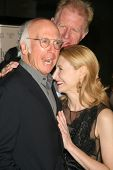 Larry David with Ed Begley Jr and Patricia Clarkson at the Los Angeles Premiere of 'Whatever Works'.
