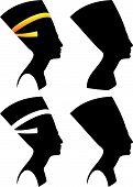 Vector silhouettes of Nefertiti