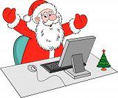Постер, плакат: Санта Клаус с компьютером