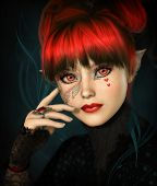 stock photo of lolita  - 3d computer graphics of a girl with fringe updo and fantasy make - JPG