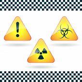 Signs-hazard, Biohazard, Radioactive Danger.