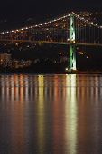 Lions Gate Bridge Night Reflection