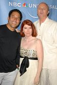 Oscar Nunez with Kate Flannery and Creed Bratton at the NBC Universal 2009 All Star Party. Langham Huntington Hotel, Pasadena, CA. 08-05-09