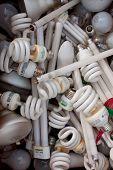 Collection Of Discarded Light Bulbs At Recycling Event