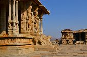 pic of chariot  - Ornate stone chariot in the Vittala temple in Hampi Karnataka India