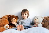 Little boy, reading a book, teddy bear around