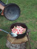 image of dutch oven  - stew being made in a dutch oven by the campfire - JPG