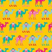 picture of parade  - Seamless kids camel parade illustration arabic theme colorful background pattern in vector - JPG