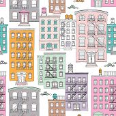 Seamless quirky brownstone homes new york city theme vintage style illustration background pattern i