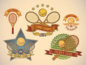 Set of vintage styled tennis tournament labels. Editable vector illustration.