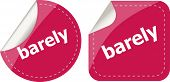 Barely Word On Stickers Button Set, Business Label